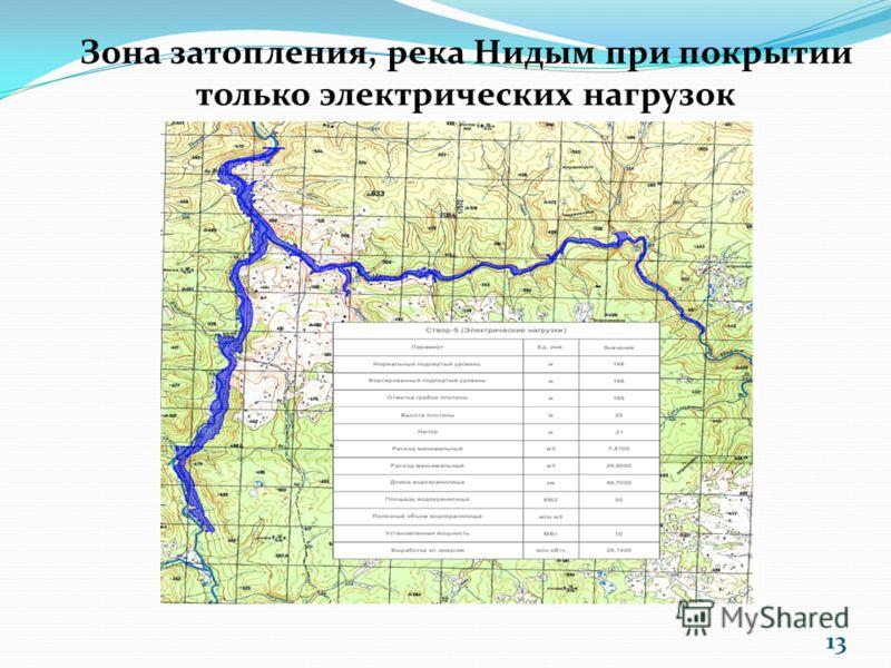 Зона затопления, река Нидым при покрытии только электрических нагрузок 13