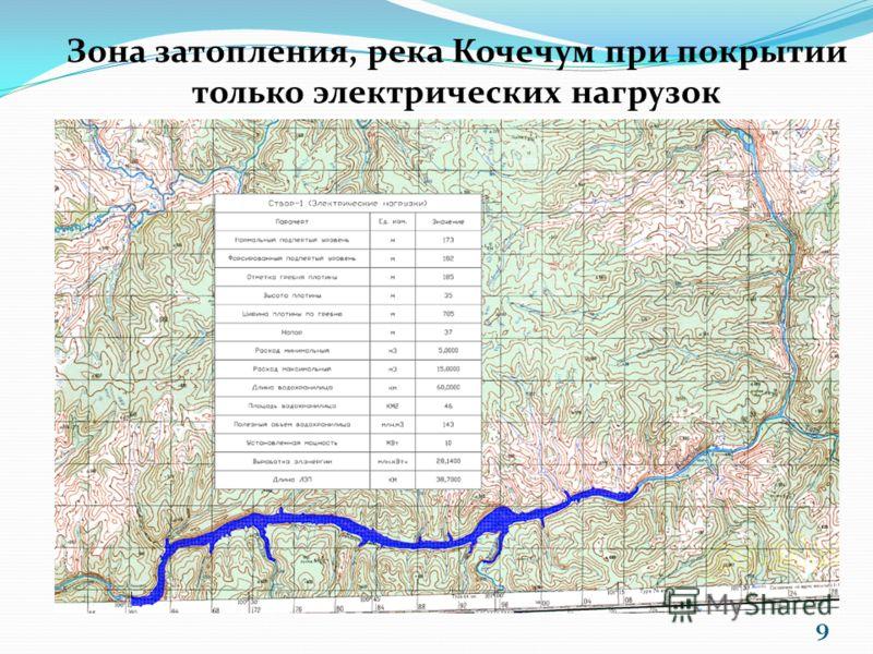 Зона затопления, река Кочечум при покрытии только электрических нагрузок 9