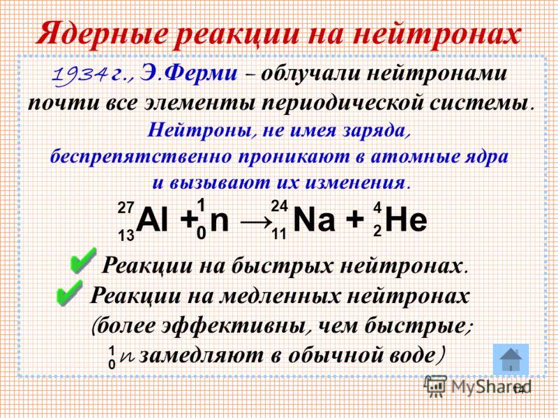 14 Ядерные реакции на нейтронах 1934 г., Э. Ферми – облучали нейтронами почти все элементы периодической системы. Нейтроны, не имея заряда, беспрепятственно проникают в атомные ядра и вызывают их изменения. Реакции на быстрых нейтронах. Реакции на ме