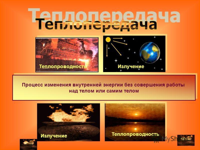 Процесс изменения внутренней энергии без совершения работы над телом или самим телом Процесс изменения внутренней энергии без совершения работы над телом или самим телом ТеплопроводностьИзлучение Теплопроводность Излучение
