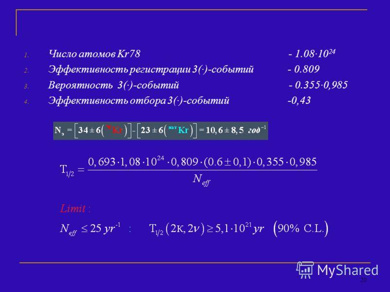 20 1. Число атомов Kr78 - 1.08·10 24 2. Эффективность регистрации 3(·)-событий - 0.809 3. Вероятность 3(·)-событий - 0.355·0,985 4. Эффективность отбора 3(·)-событий -0,43