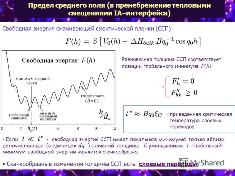 Предел среднего поля (в пренебрежение тепловыми смещениями IA–интерфейса) Свободная энергия смачивающей смектической пленки (ССП): - приведенная критическая температура слоевых переходов Равновесная толщина ССП соответствует позиции глобального миним