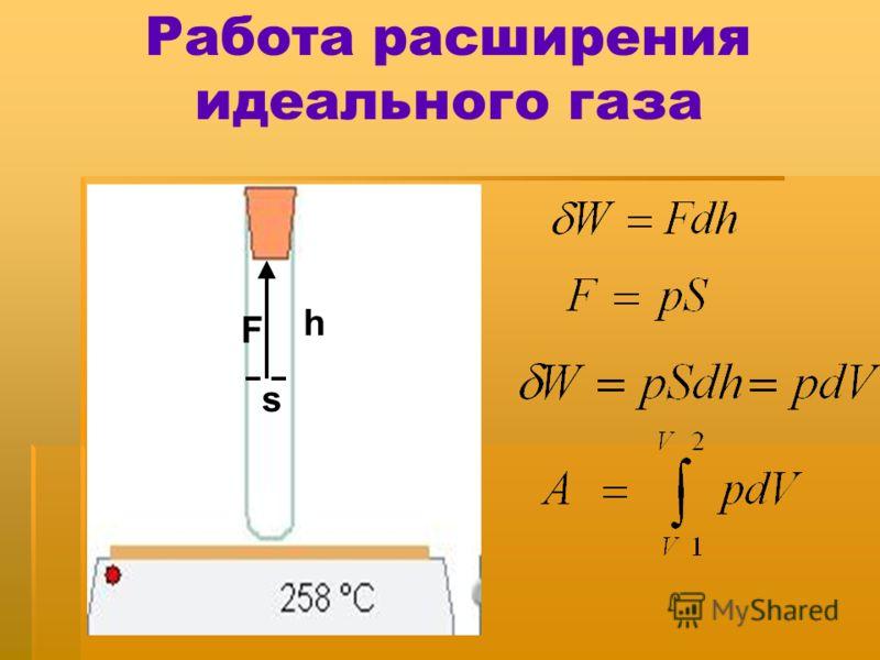 Работа расширения идеального газа h s F