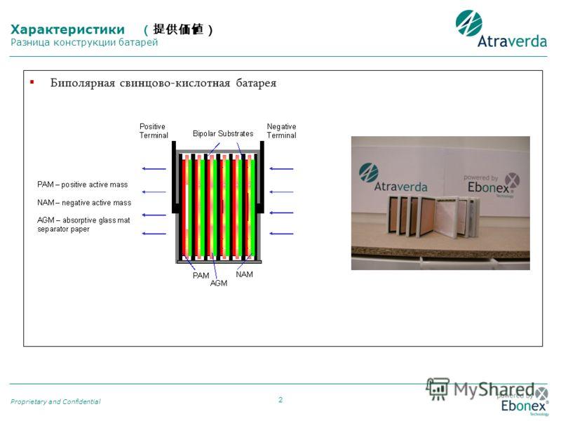 2 Proprietary and Confidential Биполярная свинцово-кислотная батарея Характеристики Разница конструкции батарей