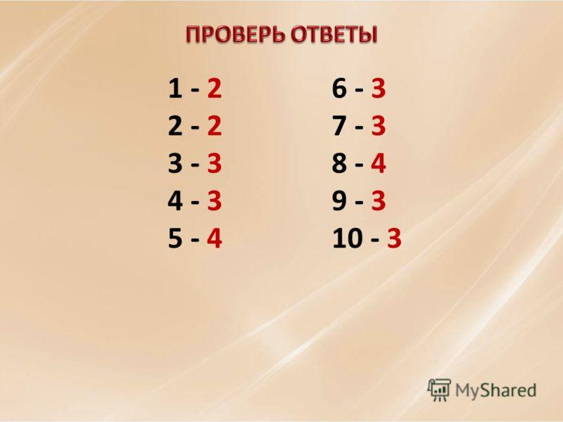 1 - 2 2 - 2 3 - 3 4 - 3 5 - 4 6 - 3 7 - 3 8 - 4 9 - 3 10 - 3