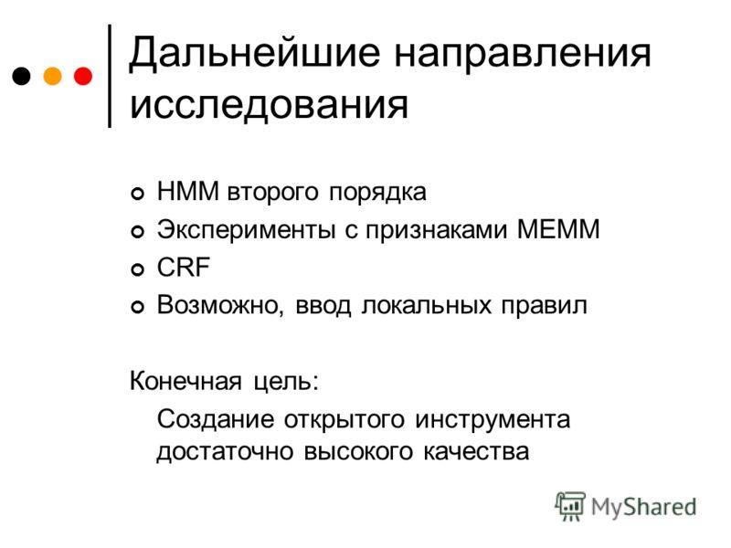 Дальнейшие направления исследования HMM второго порядка Эксперименты с признаками MEMM CRF Возможно, ввод локальных правил Конечная цель: Создание открытого инструмента достаточно высокого качества