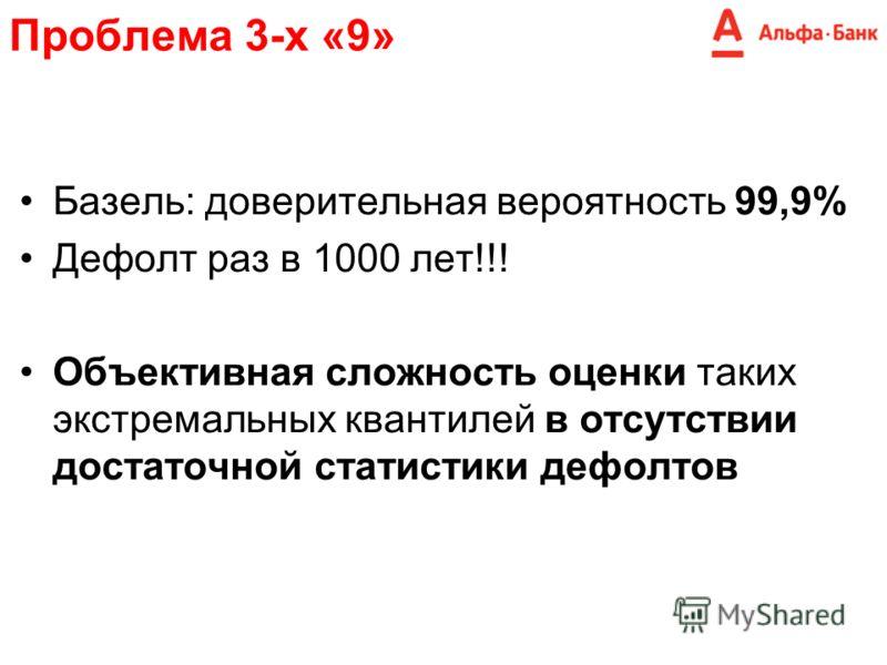 Проблема 3-х «9» Базель: доверительная вероятность 99,9% Дефолт раз в 1000 лет!!! Объективная сложность оценки таких экстремальных квантилей в отсутствии достаточной статистики дефолтов