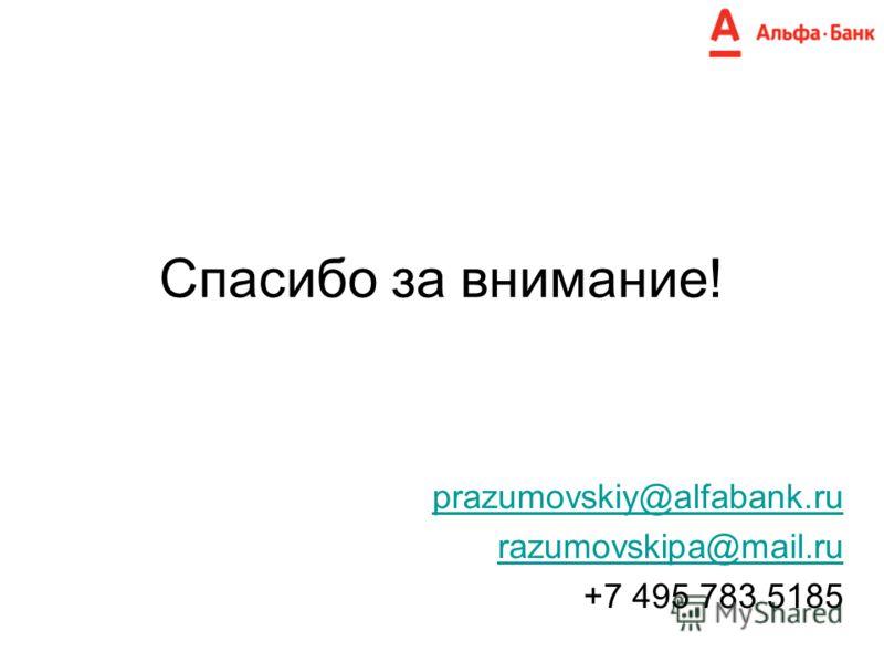 Спасибо за внимание! prazumovskiy@alfabank.ru razumovskipa@mail.ru +7 495 783 5185