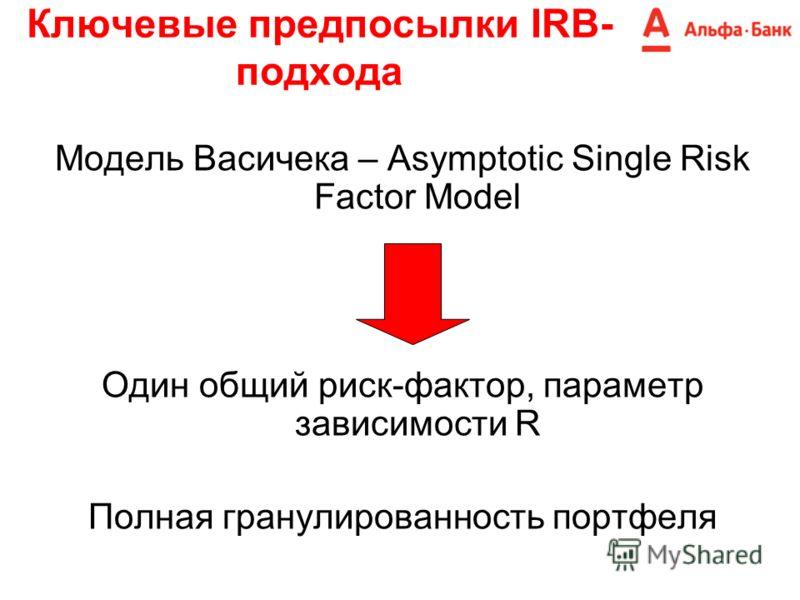 Ключевые предпосылки IRB- подхода Модель Васичека – Asymptotic Single Risk Factor Model Один общий риск-фактор, параметр зависимости R Полная гранулированность портфеля