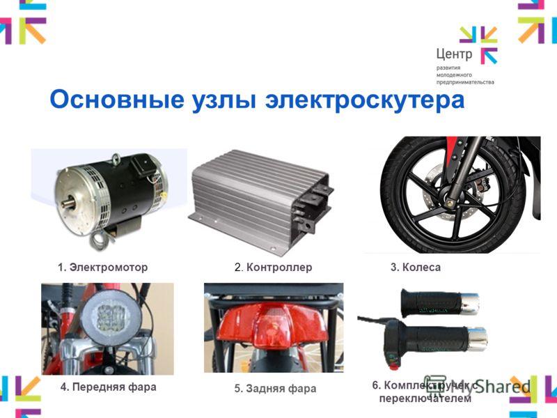 Основные узлы электроскутера 1. Электромотор2. Контроллер3. Колеса 4. Передняя фара 5. Задняя фара 6. Комплект ручек с переключателем