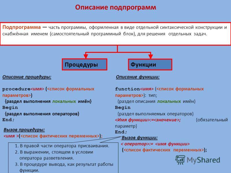 Функции Подпрограмма часть программы, оформленная в виде отдельной синтаксической конструкции и снабжённая именем (самостоятельный программный блок), для решения отдельных задач. Описание процедуры: procedure ( ) {раздел выполнения локальных имён} Be
