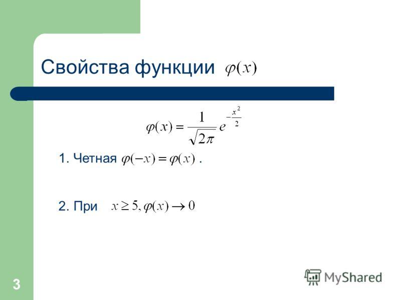 3 Свойства функции 1.Четная. 2.При