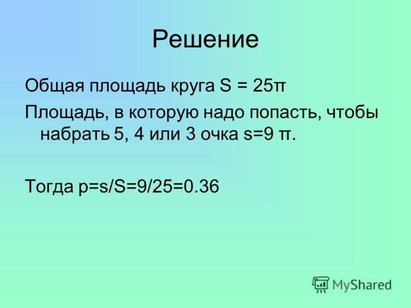 Решение Общая площадь круга S = 25π Площадь, в которую надо попасть, чтобы набрать 5, 4 или 3 очка s=9 π. Тогда p=s/S=9/25=0.36
