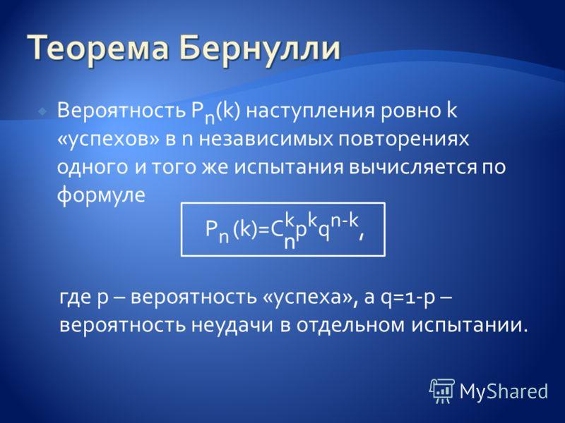 Вероятность P n (k) наступления ровно k «успехов» в n независимых повторениях одного и того же испытания вычисляется по формуле P n (k)=C k p k q n-k, где p – вероятность «успеха», а q=1-p – вероятность неудачи в отдельном испытании. n