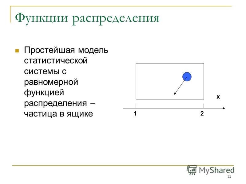 12 Функции распределения Простейшая модель статистической системы с равномерной функцией распределения – частица в ящике 12 x