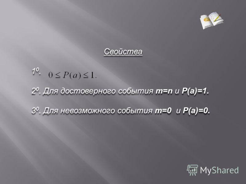Свойства 1 0. 2 0. Для достоверного события m=n и P(a)=1. 3 0. Для невозможного события m=0 и P(a)=0. Свойства 1 0. 2 0. Для достоверного события m=n и P(a)=1. 3 0. Для невозможного события m=0 и P(a)=0.