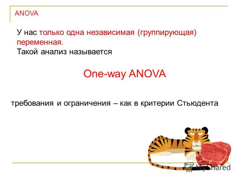 У нас только одна независимая (группирующая) переменная. Такой анализ называется One-way ANOVA требования и ограничения – как в критерии Стьюдента ANOVA