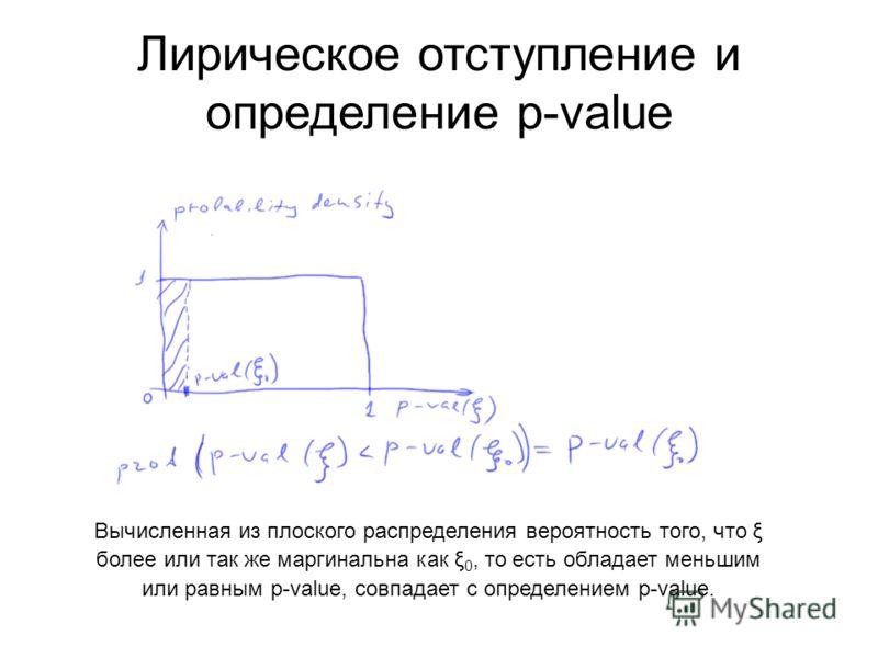 Лирическое отступление и определение p-value Вычисленная из плоского распределения вероятность того, что ξ более или так же маргинальна как ξ 0, то есть обладает меньшим или равным p-value, совпадает с определением p-value.