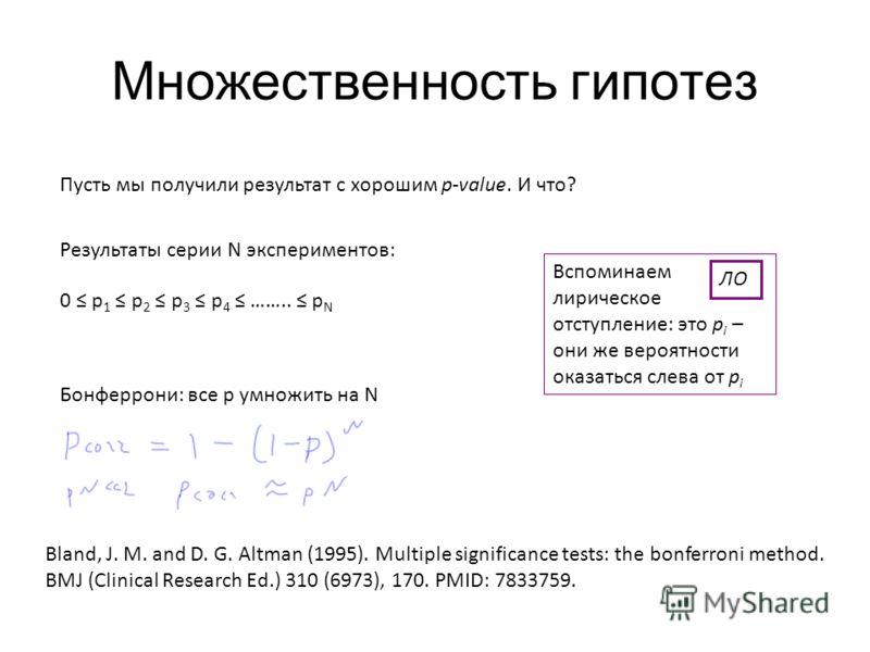 Множественность гипотез Пусть мы получили результат с хорошим p-value. И что? 0 p 1 p 2 p 3 p 4 …….. p N Результаты серии N экспериментов: Бонферрони: все p умножить на N Bland, J. M. and D. G. Altman (1995). Multiple significance tests: the bonferro