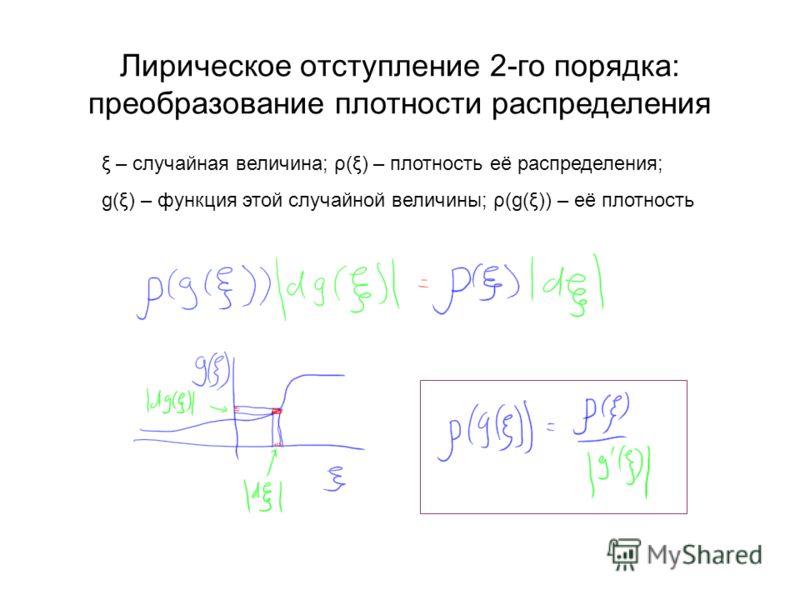 Лирическое отступление 2-го порядка: преобразование плотности распределения ξ – случайная величина; ρ(ξ) – плотность её распределения; g(ξ) – функция этой случайной величины; ρ(g(ξ)) – её плотность