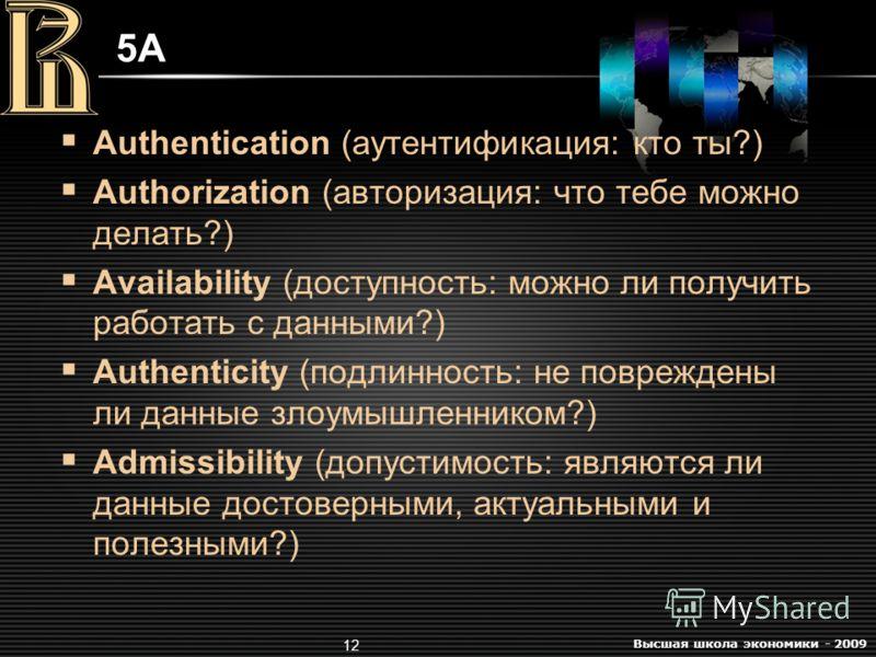 Высшая школа экономики - 2009 12 5A5A Authentication (аутентификация: кто ты?) Authorization (авторизация: что тебе можно делать?) Availability (доступность: можно ли получить работать с данными?) Authenticity (подлинность: не повреждены ли данные зл
