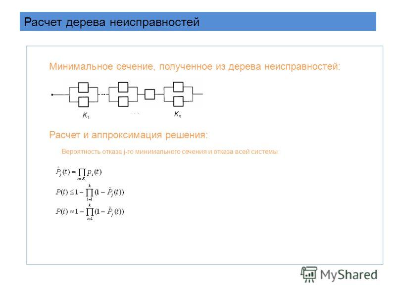 Расчет дерева неисправностей Минимальное сечение, полученное из дерева неисправностей: K1K1 KnKn... Расчет и аппроксимация решения: Вероятность отказа j-го минимального сечения и отказа всей системы: