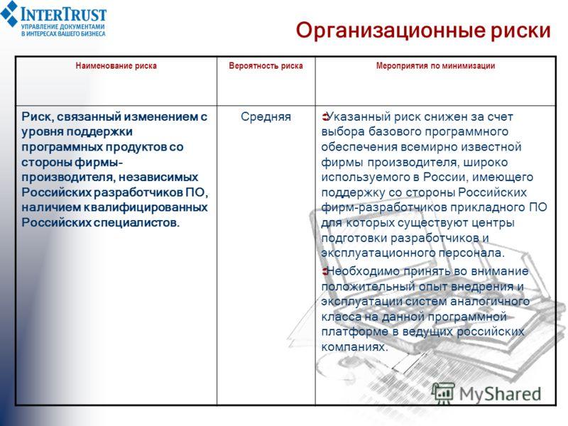 Организационные риски Наименование рискаВероятность рискаМероприятия по минимизации Риск, связанный изменением с уровня поддержки программных продуктов со стороны фирмы- производителя, независимых Российских разработчиков ПО, наличием квалифицированн