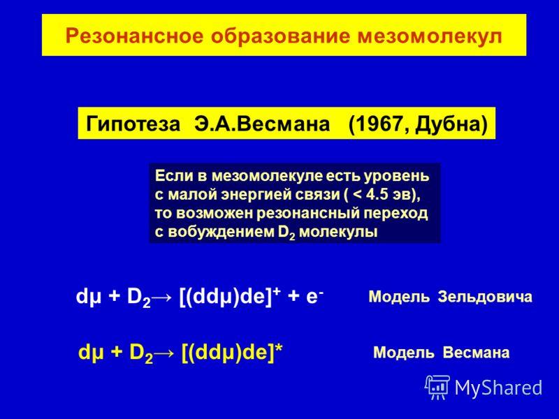 Резонансное образование мезомолекул Гипотеза Э.А.Весмана (1967, Дубна) Если в мезомолекуле есть уровень с малой энергией связи ( < 4.5 эв), то возможен резонансный переход c вобуждением D 2 молекулы dμ + D 2 [(ddμ)de] + + e - dμ + D 2 [(ddμ)de]* Моде