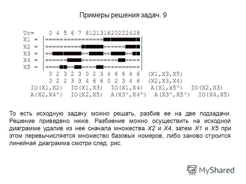 Примеры решения задач. 9 То есть исходную задачу можно решать, разбив ее на две подзадачи. Решение приведено ниже. Разбиение можно осуществить на исходной диаграмме удалив из нее сначала множества X2 и X4, затем X1 и X5 при этом перевычисляется множе