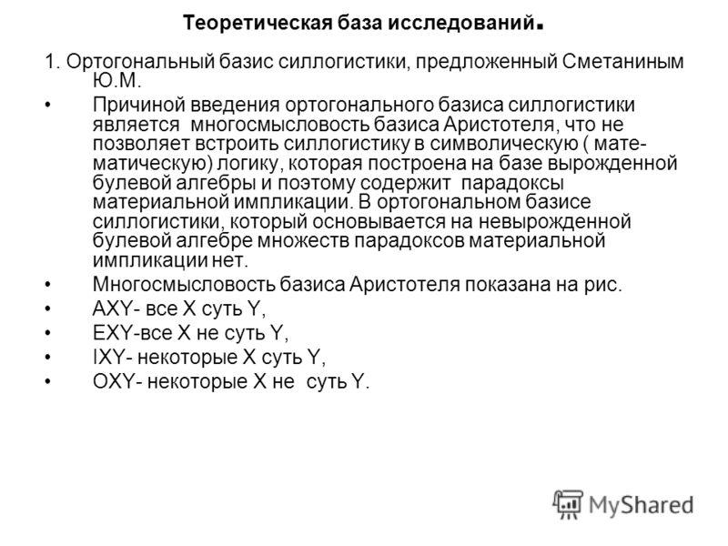 Теоретическая база исследований. 1. Ортогональный базис силлогистики, предложенный Сметаниным Ю.М. Причиной введения ортогонального базиса силлогистики является многосмысловость базиса Аристотеля, что не позволяет встроить силлогистику в символическу
