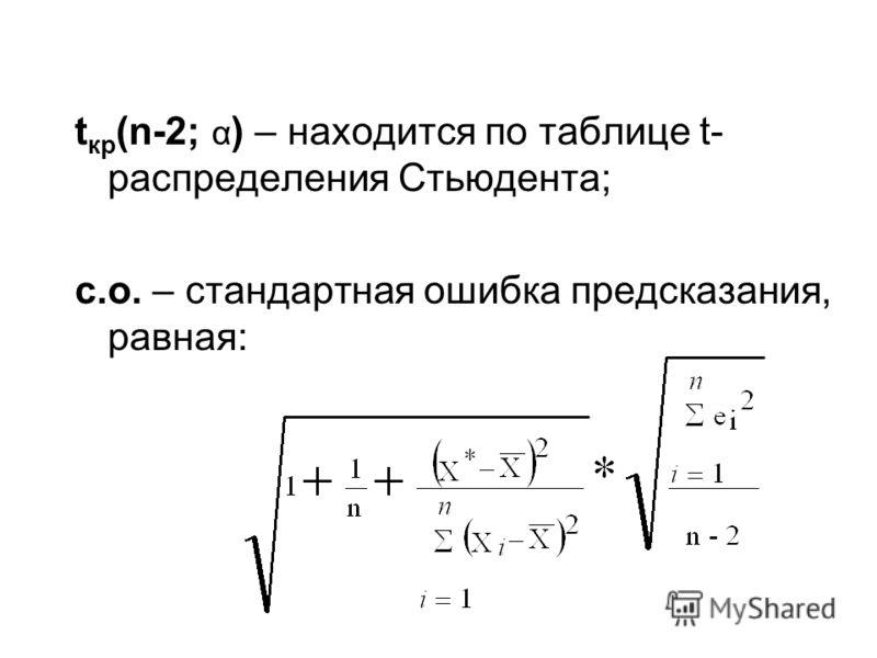 t кр (n-2; α ) – находится по таблице t- распределения Стьюдента; с.о. – стандартная ошибка предсказания, равная: