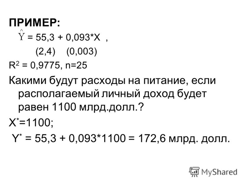 ПРИМЕР: = 55,3 + 0,093*X, (2,4) (0,003) R 2 = 0,9775, n=25 Какими будут расходы на питание, если располагаемый личный доход будет равен 1100 млрд.долл.? X * =1100; Y * = 55,3 + 0,093*1100 = 172,6 млрд. долл.