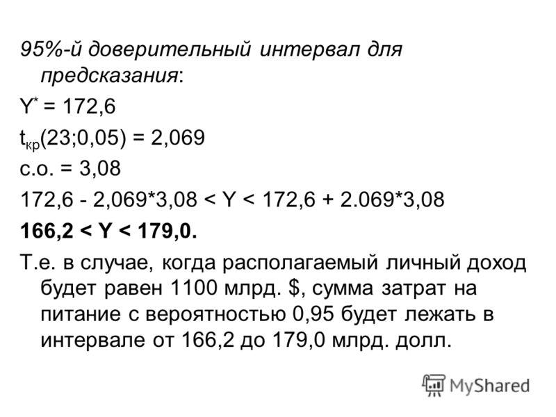 95%-й доверительный интервал для предсказания: Y * = 172,6 t кр (23;0,05) = 2,069 с.о. = 3,08 172,6 - 2,069*3,08 < Y < 172,6 + 2.069*3,08 166,2 < Y < 179,0. Т.е. в случае, когда располагаемый личный доход будет равен 1100 млрд. $, сумма затрат на пит