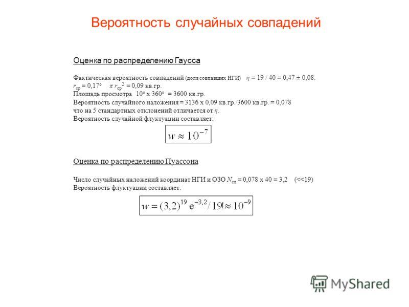 Вероятность случайных совпадений Оценка по распределению Гаусса Фактическая вероятность совпадений (доля совпавших НГИ) η = 19 / 40 = 0,47 ± 0,08. r ср = 0,17 о π r ср 2 = 0,09 кв.гр. Площадь просмотра 10 о x 360 о = 3600 кв.гр. Вероятность случайног