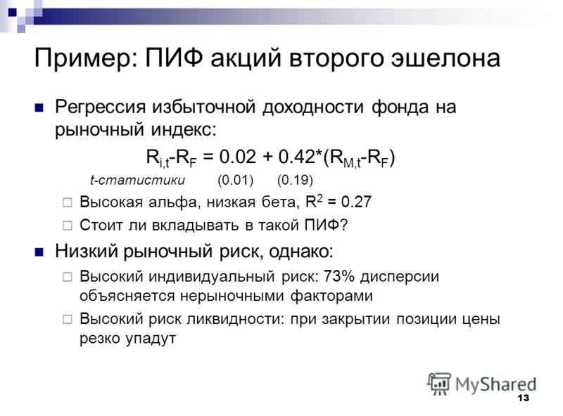 13 Пример: ПИФ акций второго эшелона Регрессия избыточной доходности фонда на рыночный индекс: R i,t -R F = 0.02 + 0.42*(R M,t -R F ) t-статистики (0.01) (0.19) Высокая альфа, низкая бета, R 2 = 0.27 Стоит ли вкладывать в такой ПИФ? Низкий рыночный р