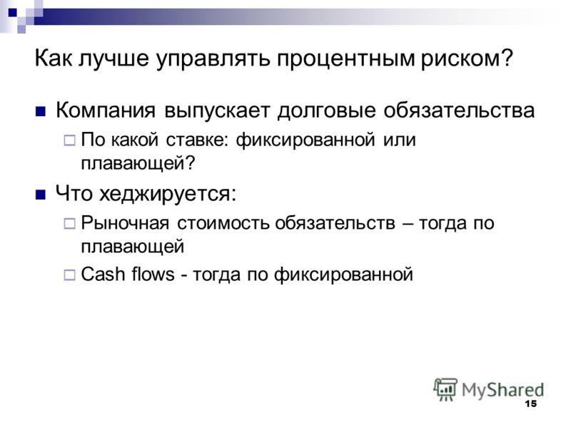 15 Как лучше управлять процентным риском? Компания выпускает долговые обязательства По какой ставке: фиксированной или плавающей? Что хеджируется: Рыночная стоимость обязательств – тогда по плавающей Cash flows - тогда по фиксированной