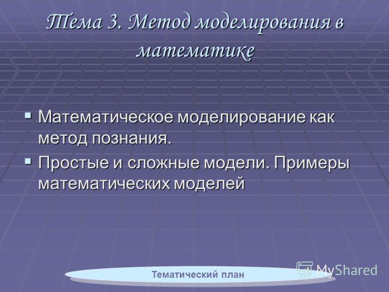Тема 3. Метод моделирования в математике Математическое моделирование как метод познания. Математическое моделирование как метод познания. Простые и сложные модели. Примеры математических моделей Простые и сложные модели. Примеры математических модел