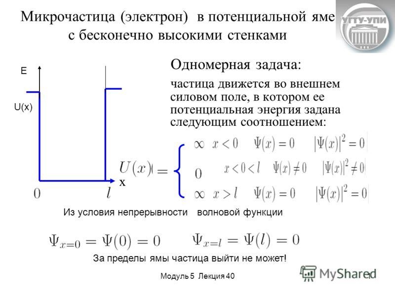 Модуль 5 Лекция 401 Микрочастица (электрон) в потенциальной яме с бесконечно высокими стенками Одномерная задача: частица движется во внешнем силовом поле, в котором ее потенциальная энергия задана следующим соотношением: U(x) E Из условия непрерывно