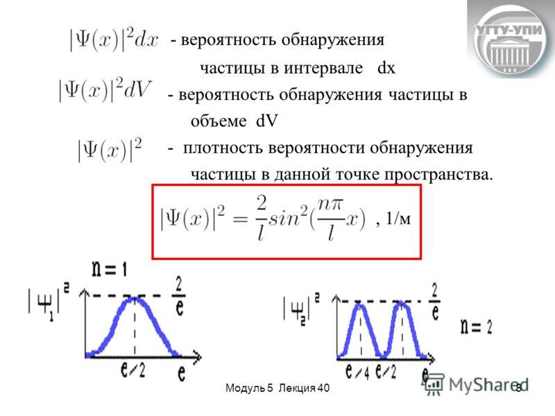 Модуль 5 Лекция 408 - вероятность обнаружения частицы в интервале dx - вероятность обнаружения частицы в объеме dV - плотность вероятности обнаружения частицы в данной точке пространства., 1/м