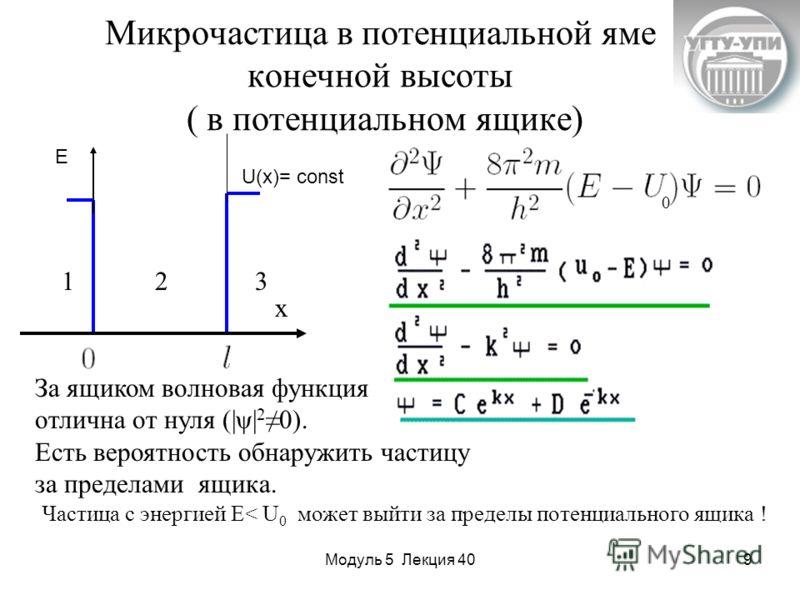 Модуль 5 Лекция 409 Микрочастица в потенциальной яме конечной высоты ( в потенциальном ящике) U(x)= const E x 123 За ящиком волновая функция отлична от нуля (|ψ| 20). Есть вероятность обнаружить частицу за пределами ящика. Частица с энергией E< U 0 м