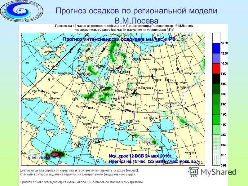 24-26 мая 2010 года г. Железнодорожный 7 Прогноз осадков по региональной модели В.М.Лосева