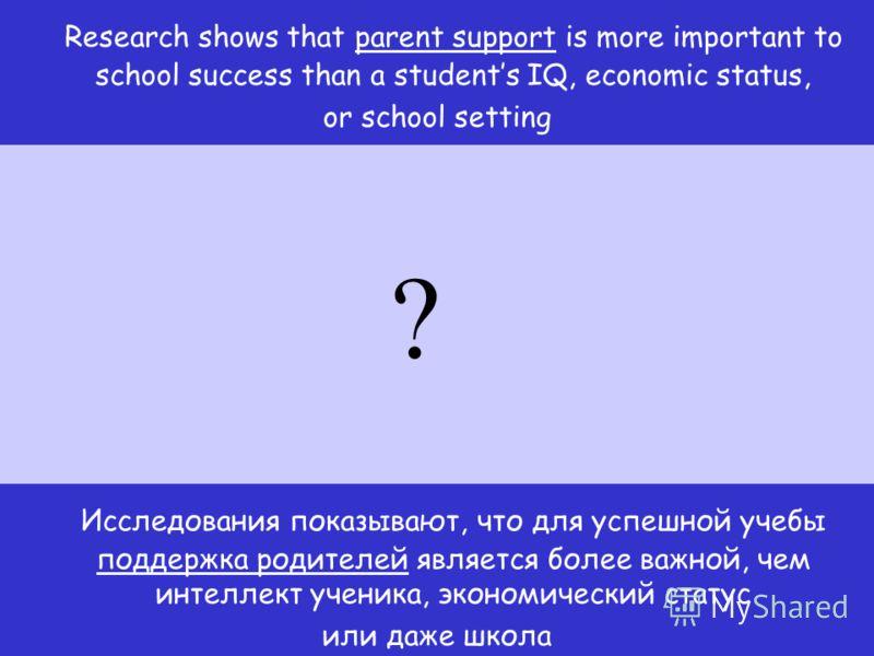 Исследования показывают, что для успешной учебы поддержка родителей является более важной, чем интеллект ученика, экономический статус или даже школа Research shows that parent support is more important to school success than a students IQ, economic