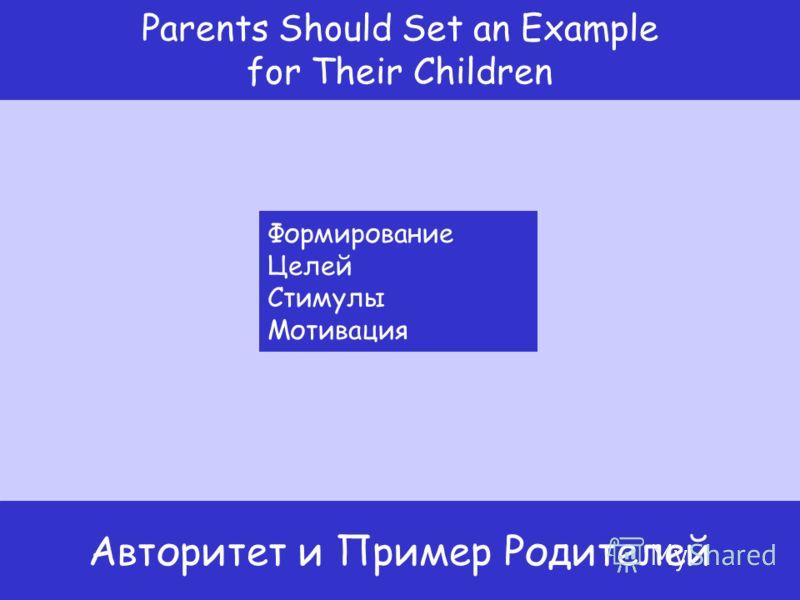 Формирование Целей Стимулы Мотивация Авторитет и Пример Родителей Parents Should Set an Example for Their Children