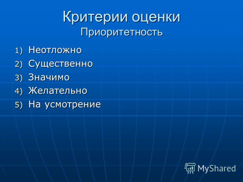 Критерии оценки Приоритетность 1) Неотложно 2) Существенно 3) Значимо 4) Желательно 5) На усмотрение