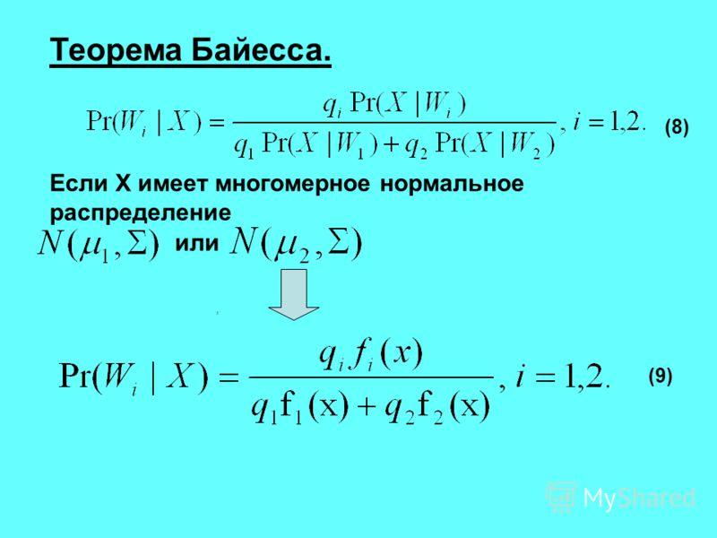 Теорема Байесса. Если X имеет многомерное нормальное распределение или, (8) (9)