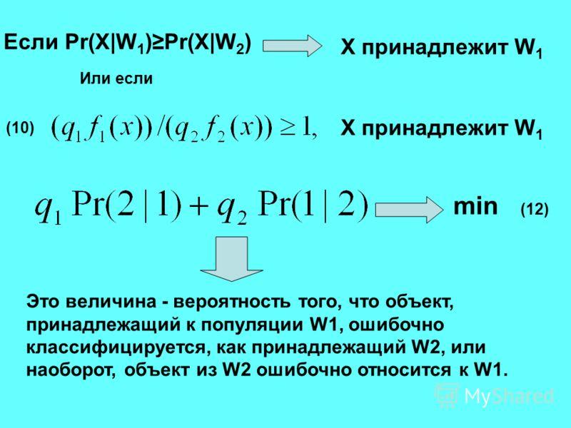 Если Pr(X|W 1 )Pr(X|W 2 ) X принадлежит W 1 Или если X принадлежит W 1 min Это величина - вероятность того, что объект, принадлежащий к популяции W1, ошибочно классифицируется, как принадлежащий W2, или наоборот, объект из W2 ошибочно относится к W1.