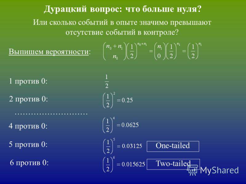 Дурацкий вопрос: что больше нуля? Выпишем вероятности: 2 против 0: 1 против 0: 4 против 0: ……………………… 5 против 0: One-tailed Или сколько событий в опыте значимо превышают отсутствие событий в контроле? 6 против 0: Two-tailed