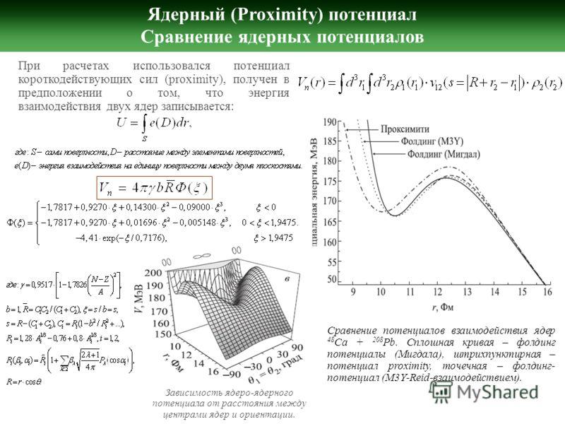 Ядерный (Proximity) потенциал Сравнение ядерных потенциалов При расчетах использовался потенциал короткодействующих сил (proximity), получен в предположении о том, что энергия взаимодействия двух ядер записывается: Сравнение потенциалов взаимодействи