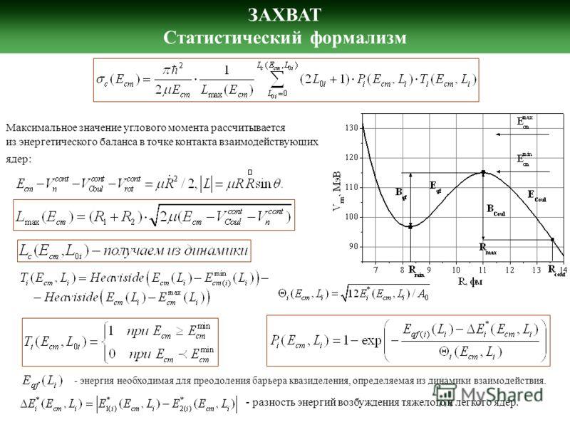 ЗАХВАТ Статистический формализм Максимальное значение углового момента рассчитывается из энергетического баланса в точке контакта взаимодействующих ядер: - энергия необходимая для преодоления барьера квазиделения, определяемая из динамики взаимодейст