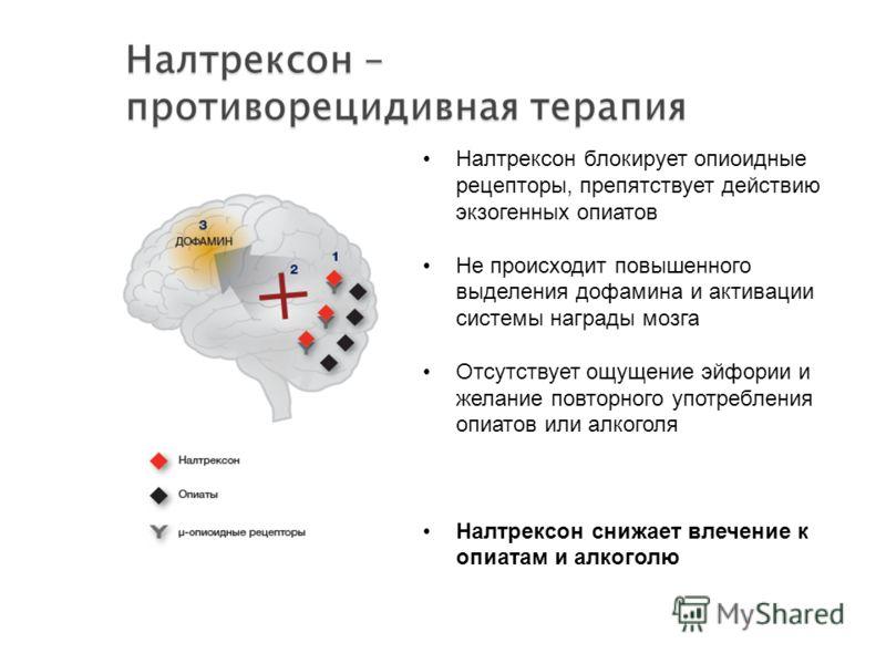 Налтрексон блокирует опиоидные рецепторы, препятствует действию экзогенных опиатов Не происходит повышенного выделения дофамина и активации системы награды мозга Отсутствует ощущение эйфории и желание повторного употребления опиатов или алкоголя Налт